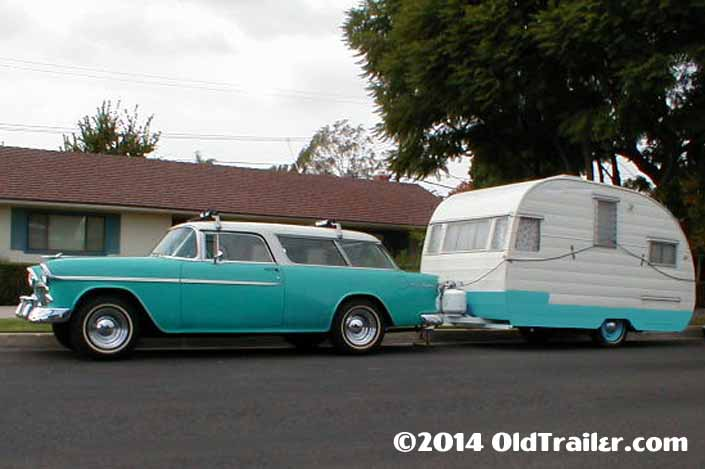 This vintage towing rig is a vintage 1955 chevy nomad station wagon pulling a vintage 1955 shasta trailer