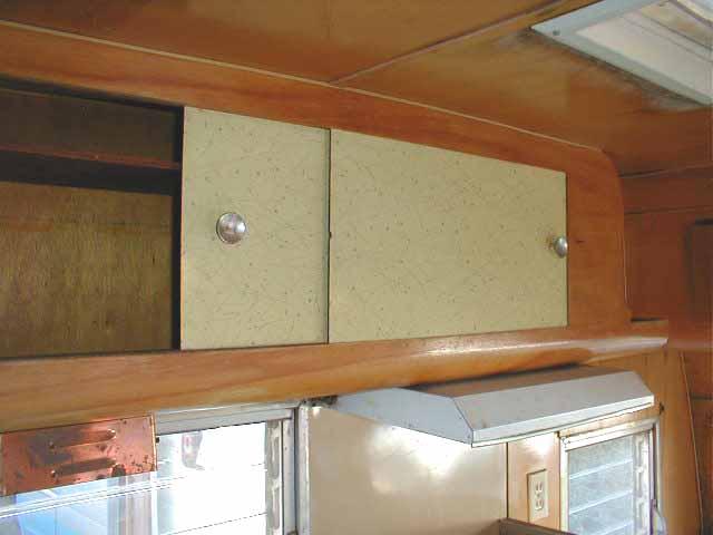 Picture Of Original Laminate Sliding Cabinet Doors In 1955 Shasta Trailer