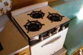 Gas stove & oven unit in 1955 Shasta travel trailer