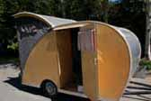 Restored 1956 Campmaster Teardrop trailer with side entrance door