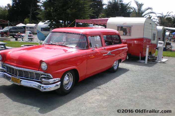 This vintage towing rig is a vintage 1956 ford ranch wagon pulling a vintage shasta trailer