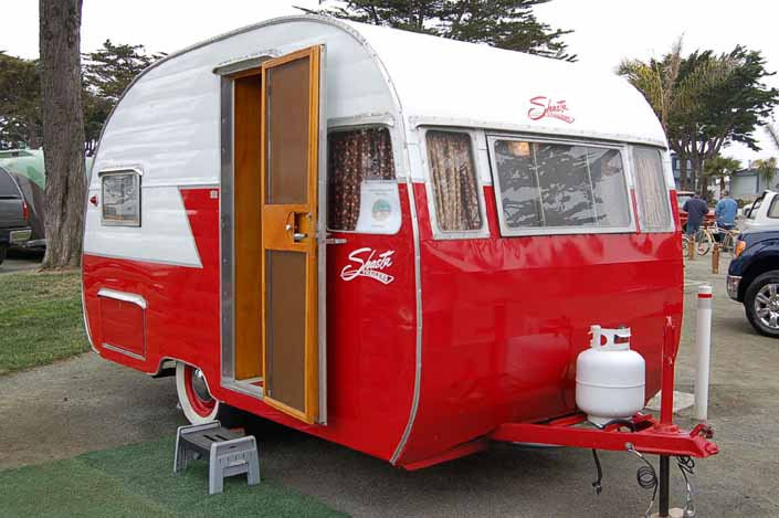Photo shows an example of a vintage Shasta Trailer from model years 1952 thru 1957