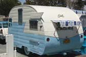 Blue and White vintage 1956 Shasta canned-ham trailer
