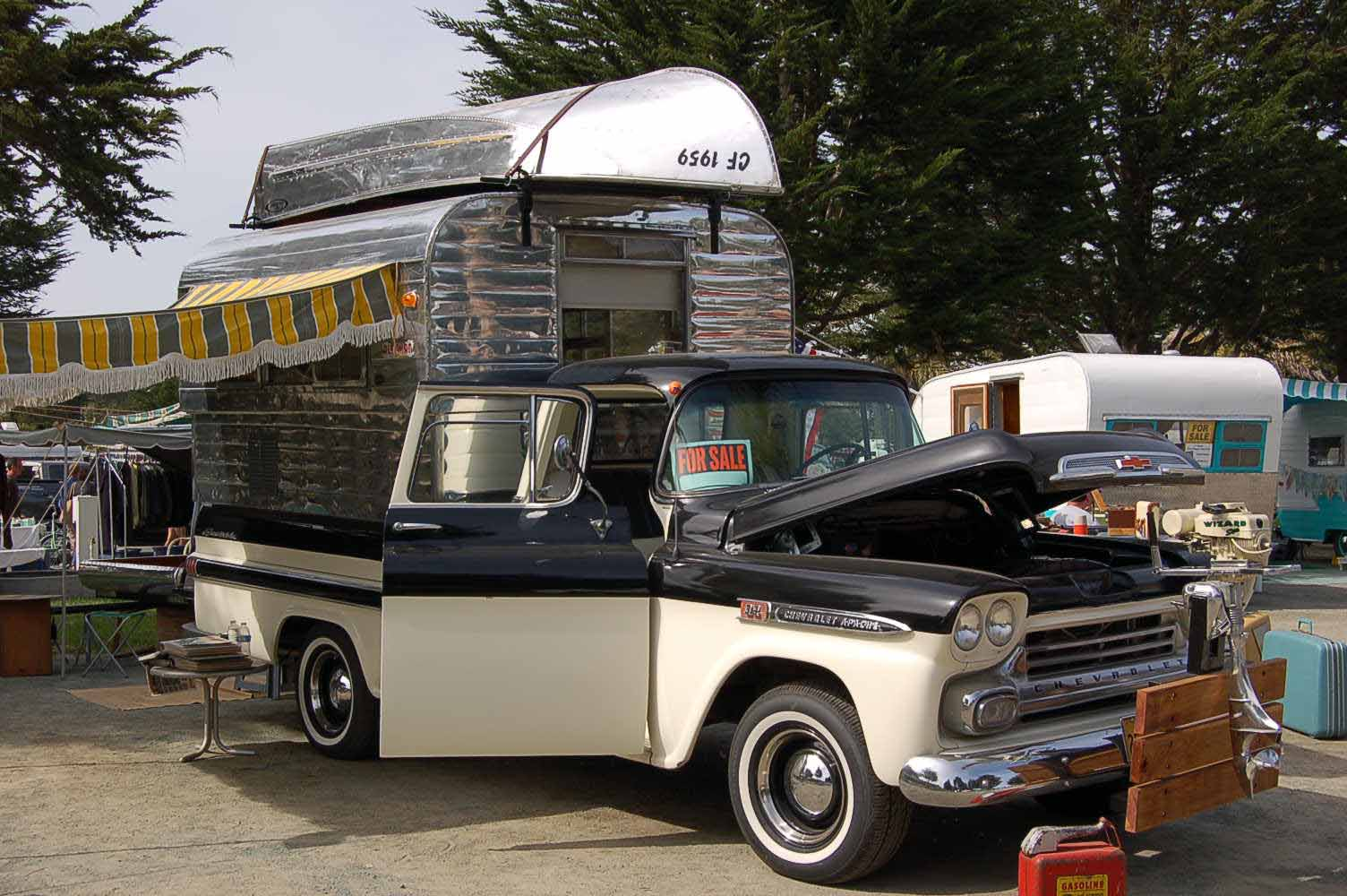 Classic 1959 Chevy Apache Pickup Truck With A Rare Alaskan Expanding Camper Shell And Fishing Boat