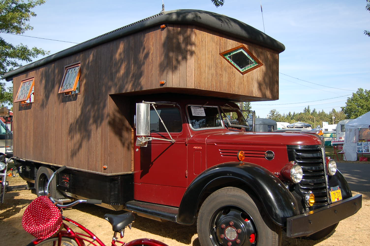 1959 Federal Truck Skillfully Turned Into An Huge Based Camper With Custom Stained Glass Windows