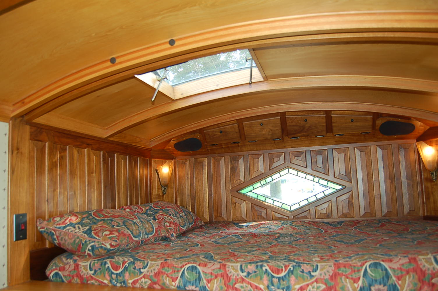 Beautiful wood work on the curved ceiling and raised panel walls in the  sleeping loft  1959 Federal Truck Camper Curved Ceiling Sleeping Loft. Vintage Truck Based Camper Trailers  from OldTrailer com
