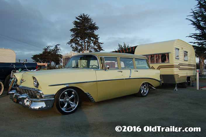 This vintage towing rig is a 1956 Chevy 210 Station Wagon pulling a 1959 Vintage Winnebago Trailer