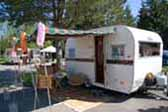 1960 Aloha vintage 15' travel trailer with fun Hawaiian tiki bar decoraations
