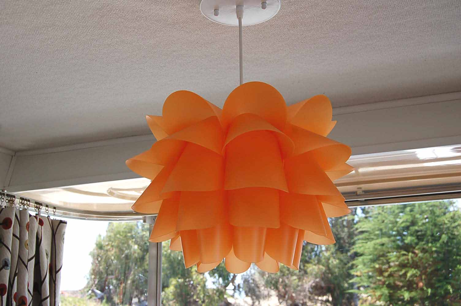Vintage holiday house trailer pictures and history from awesome orange plastic ruffled ceiling light fixture 24ft vintage 1961 holiday house trailer aloadofball Image collections