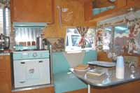 Pictures of vintage Shasta Trailer interiors, appliances, upholstery and accessories