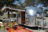1963 Airstream Bambi Travel Trailer With Green Striped Side Awning