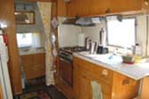 Nice Kitchen Cabinets and Sleeping Area in 1963 Airstream Flying Cloud Trailer