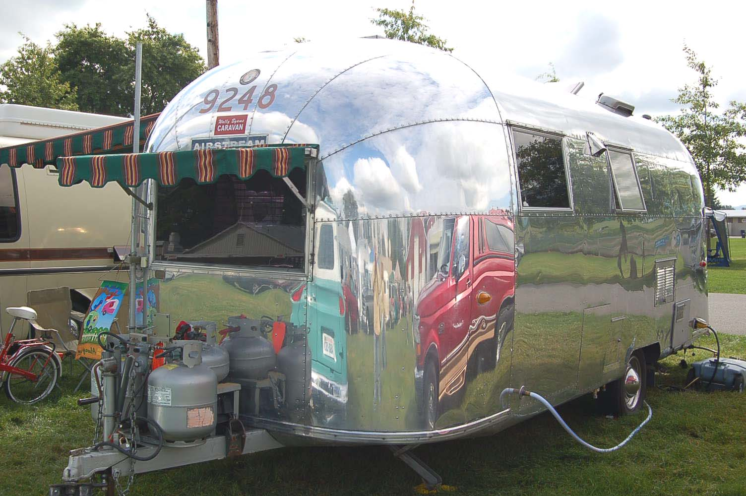 Very Clean 1963 Airstream Safari Trailer With Front Striped Awning