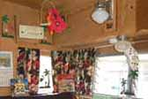 1963 Shasta Airflyte Trailer decorated with lots of vintage accessories