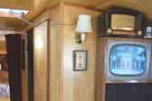 Vintage black and white TV mounted in 1963 Shasta Airflyte Trailer!