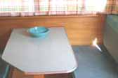 Original formica laminate dining table in vintage 1963 Shasta Trailer
