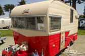 1964 Shasta Trailer with red and creme white paint color scheme