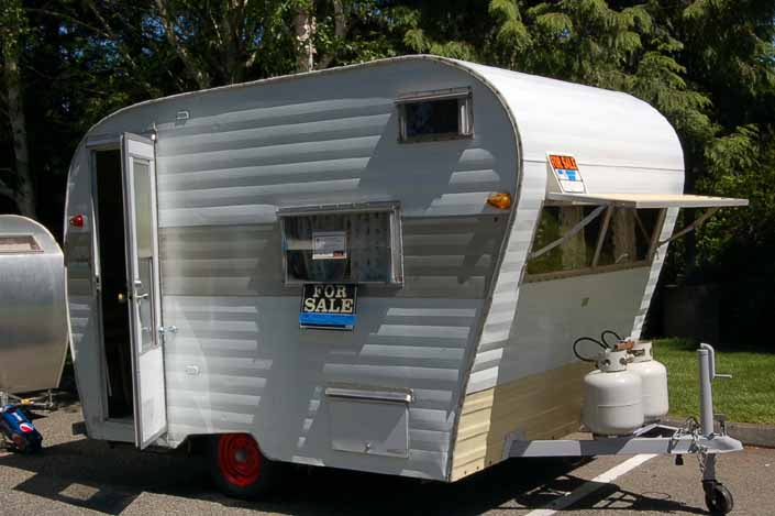 This classic Aladdin Genie travel trailer is for sale and would make a great restoration project