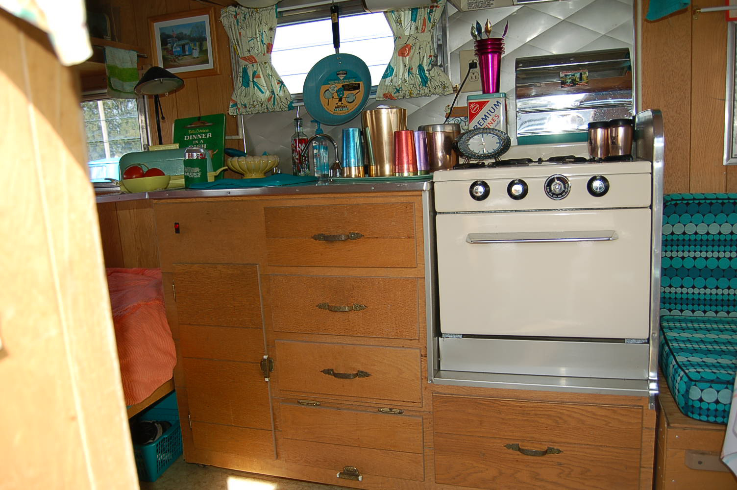 Picture Shows Restored Oven And Kitchen Countertop Cabinet In Vintage 1965 Aloha Trailer Travel