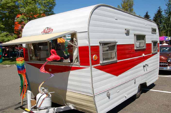Great looking example of a vintage Aladdin Magic Carpet Travel Trailer