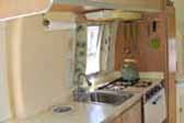 Beautiful kitchen area in 1967 Airstream Caravel travel trailer
