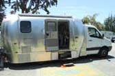 Modern Airstream Trailer Camper Conversion Using Diesel Truck Frame