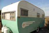 Beautifully restored Aljoa trailer painted 2-tone mint green and cream