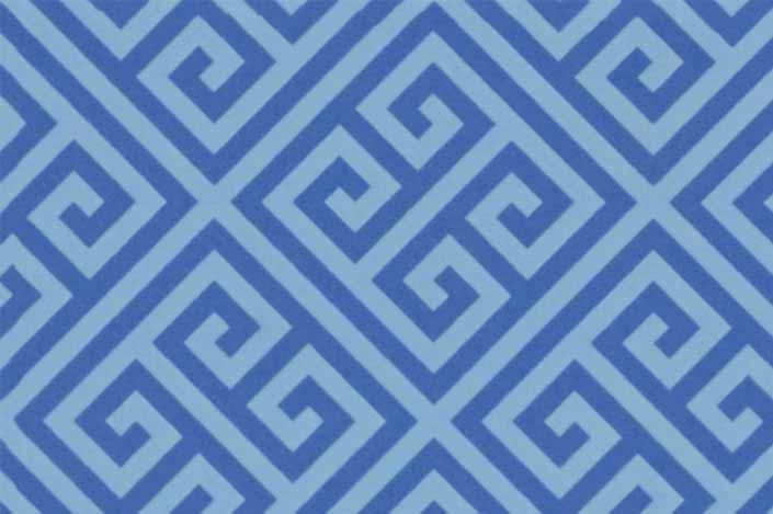 Retro formica laminate sample chip; Blue Greek Key pattern #9492