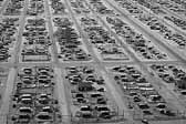 Government photo provides an aerial view of a huge collection of worker's vintage trailers, at the Hanford Trailer Camp in Washington