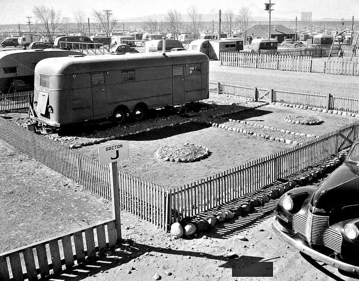 Government photo shows a group of Vintage Trailers that housed workers and their families, at the Hanford Trailer Camp