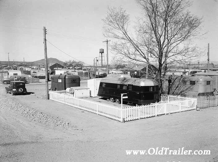Government photo shows acres of 1940's vintage trailers that housed wmployees and their families, at Project Hanford Trailer City in Washington
