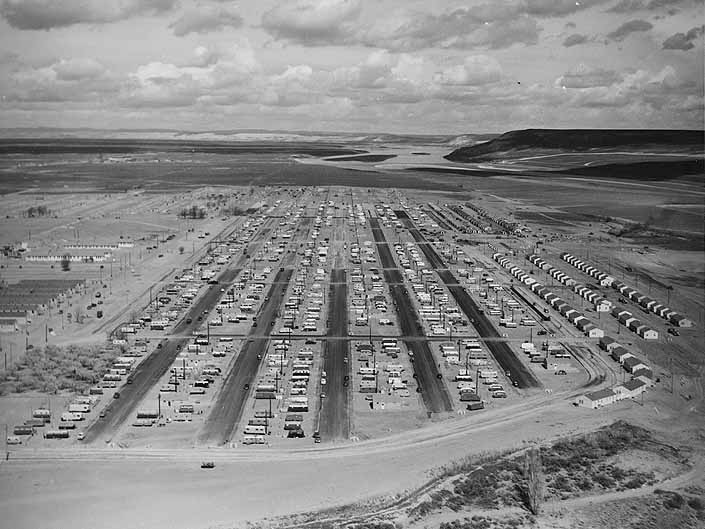 Government photo provides an aerial view of a huge collection of worker's vintage trailers, at the Project Hanford Trailer City in Washington