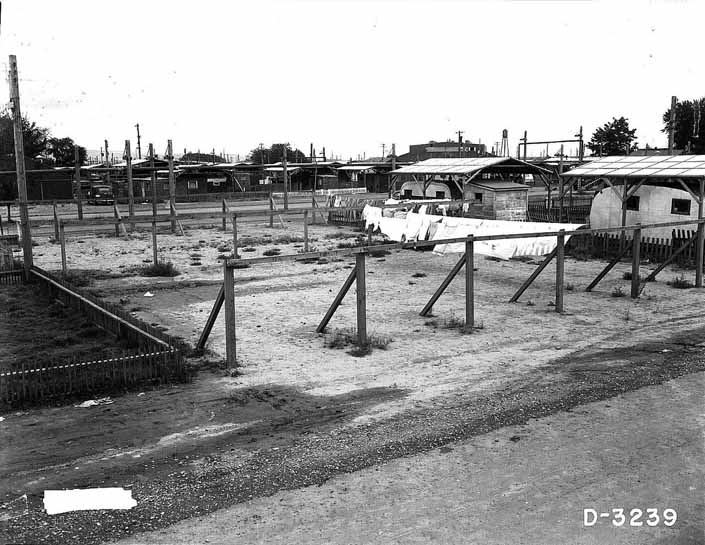 Government photo shows empty trailer spots available for worker's trailers, at the Project Hanford Trailer City in Washington