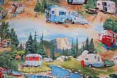 This image is a sample of a great looking retro fabric pattern with station wagons, vintage trailers and pickup trucks