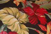 This image is a sample of a great looking retro fabric pattern with Hawaiian Flowers on a black background, for your vintage trailer