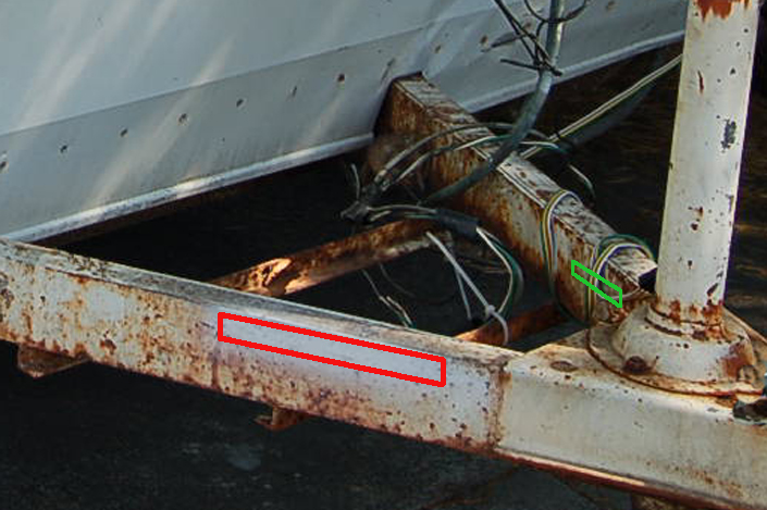Photo shows the location of the unique VIN numbers stamped into a vintage shasta trailer frame when the trailer was built