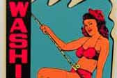 Rare Souvenir Travel Decal from Washington State, shows cute bikini-clad girl with a fishing pole