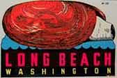 Unique Vintage Souvenir Travel Decal from Long Beach Washington features a Geoduck shellfish!