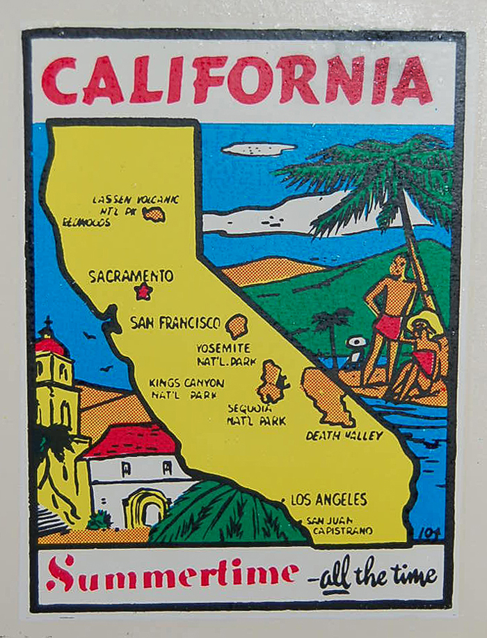 Vintage Souvenir Travel Decal from State of California