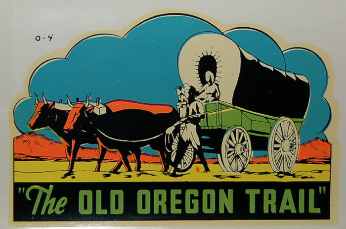 Souvenir Travel Decal features image of covered wagons heading west on the Old Oregon Trail