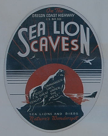 Unique Vintage Souvenir Travel Decal from the Sea Lion Caves ares on Highway-101 on the Oregon Coast