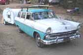 Classic Teardrop Trailer Towed By 1956 Ford Country Squire Station Wagon
