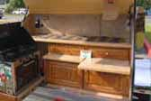 Cooking Area of Sharp Custom Made Teardrop Trailer, With Amazing Cabinetwork