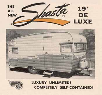 Original dimensions, features and specifications for the Shasta 1900 Deluxe Vintage Trailer