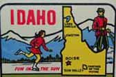 Idaho Vintage Travel Decal features sporty outdoor ice skating girl with Gem of The Mountains slogan