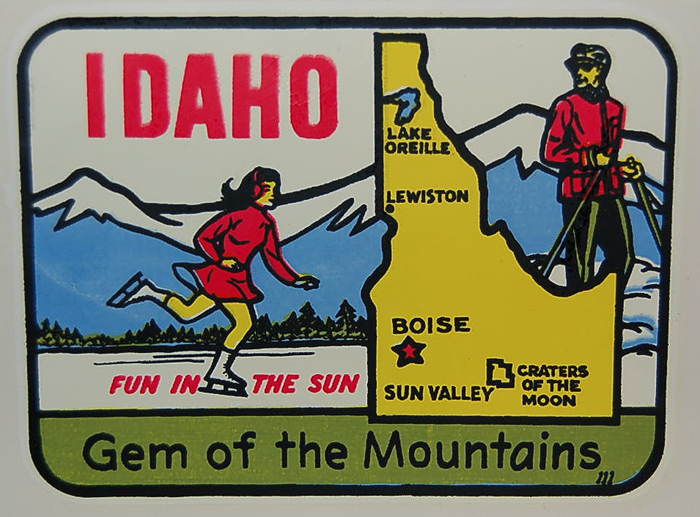 Idaho Vintage Travel Decal features sporty outdoor ice skating girl