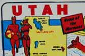 Utah State Vintage Souvenir Travel Decal shows fun summer outdoor activities