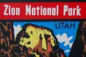Zion National Park in Utah, The Great White Throne, sold these colorful Vintage Souvenir Travel Decals