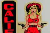 Sexy Vintage Souvenir Decal from California shows 1950's pinup girl as bikini clad cowgirl with guns!