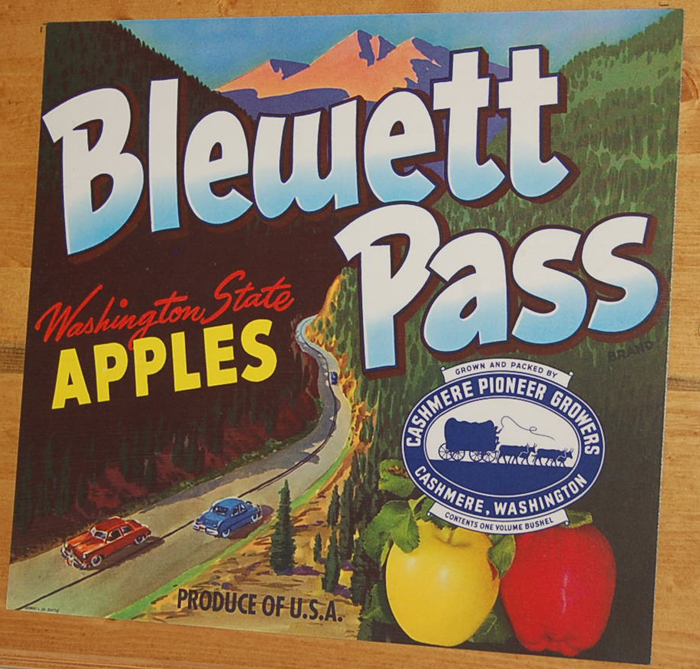 Colorful Vintage Trailer Decal honors famous Blewett Pass Apples in the State of Washington